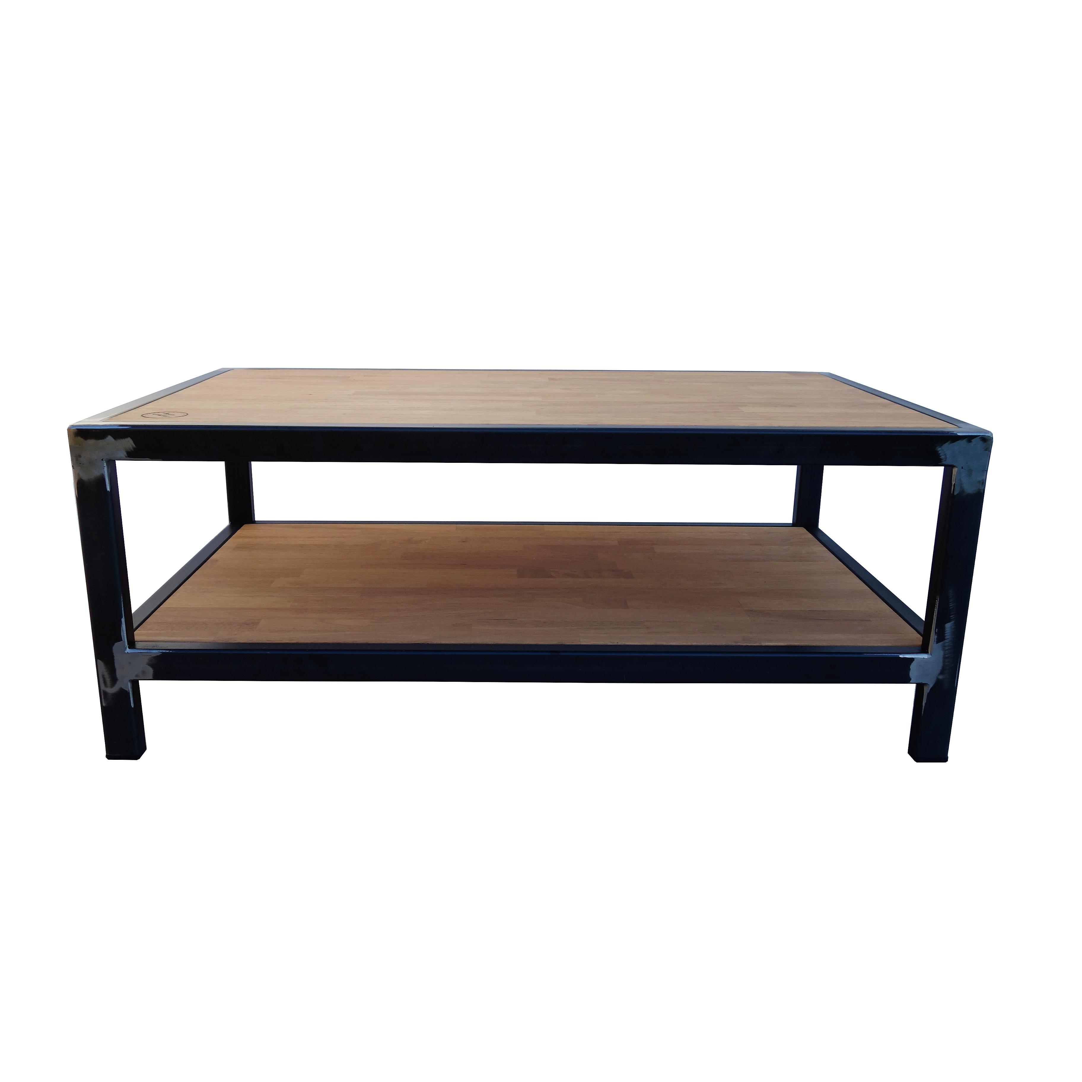 table basse chêne acier