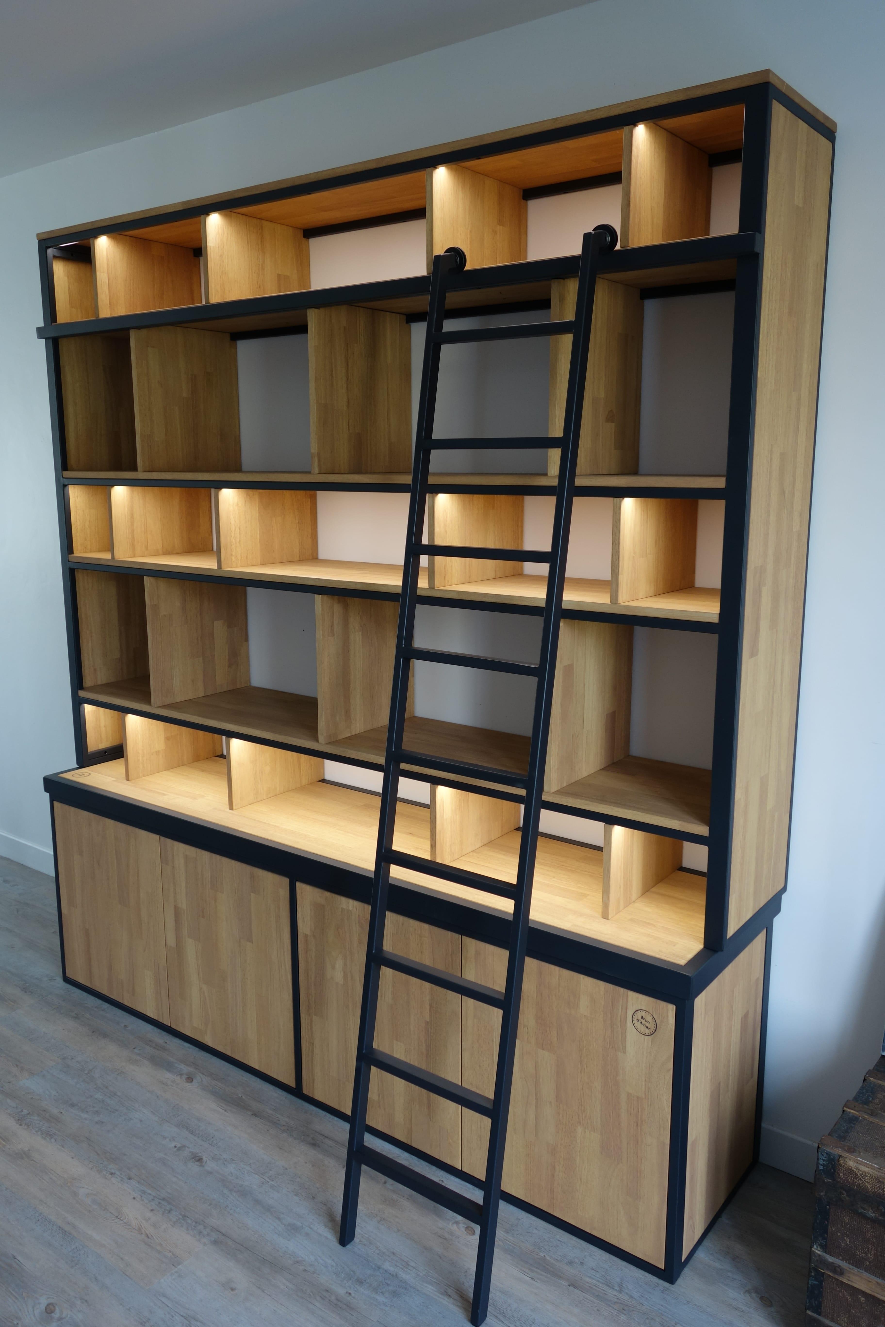 Echelle Bibliotheque Sur Rail bibliothèque brun d'acier - vos meubles industriels sur mesure.