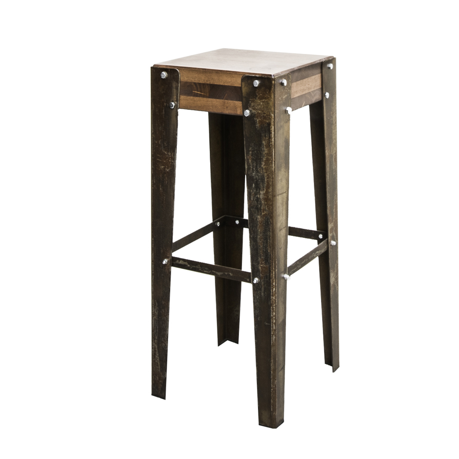tabouret de bar industriel edmonton finition rouille. Black Bedroom Furniture Sets. Home Design Ideas